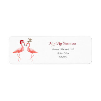 Christmas funny flamingos personalized return address label