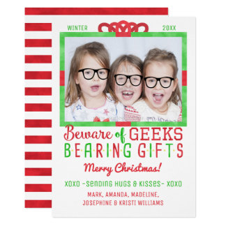 Christmas Funny Geeks   Family Holiday Photo Card