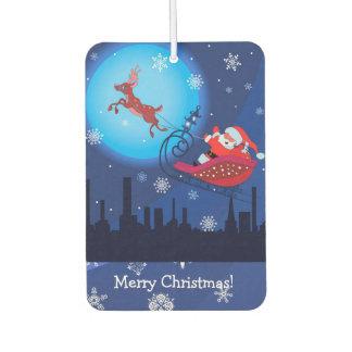 Christmas funny illustration. Santa with Rudolf Air Freshener