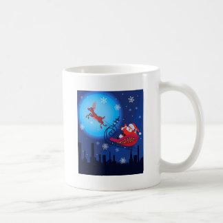 Christmas funny illustration. Santa with Rudolf Coffee Mug