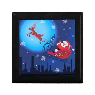 Christmas funny illustration. Santa with Rudolf Gift Box