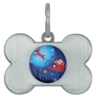 Christmas funny illustration. Santa with Rudolf Pet Name Tag