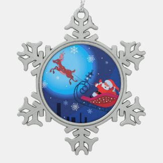 Christmas funny illustration. Santa with Rudolf Pewter Snowflake Ornament