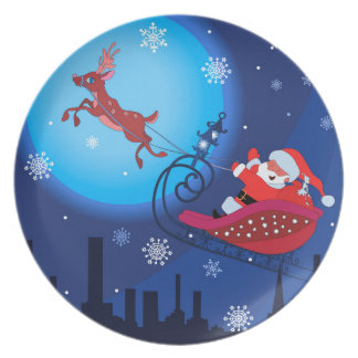 Christmas funny illustration. Santa with Rudolf Plate