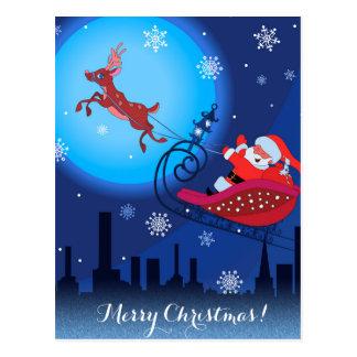 Christmas funny illustration. Santa with Rudolf Postcard