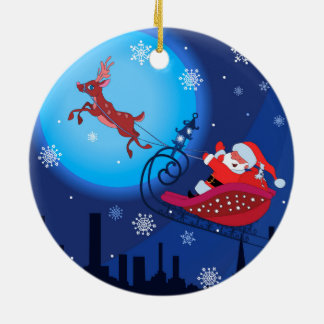 Christmas funny illustration. Santa with Rudolf Round Ceramic Ornament