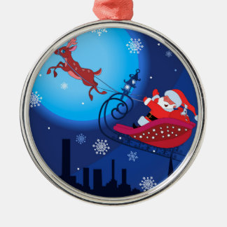Christmas funny illustration. Santa with Rudolf Silver-Colored Round Ornament