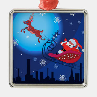 Christmas funny illustration. Santa with Rudolf Silver-Colored Square Ornament