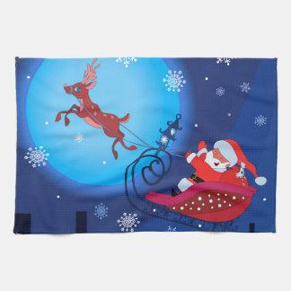 Christmas funny illustration. Santa with Rudolf Towel
