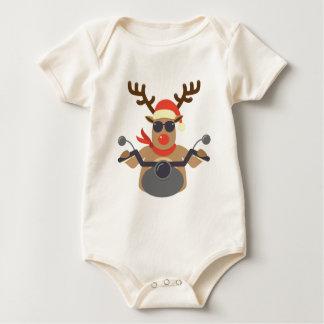 Christmas Funny Rudolf Biker Motorcycle Baby Bodysuit