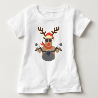 Christmas Funny Rudolf Biker Motorcycle Baby Romper