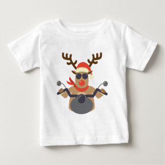 Christmas Funny Rudolf Biker Motorcycle Baby T-Shirt