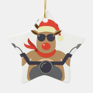 Christmas Funny Rudolf Biker Motorcycle Ceramic Ornament