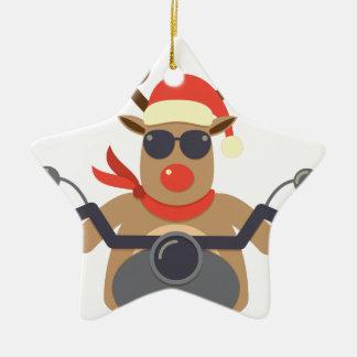Christmas Funny Rudolf Biker Motorcycle Ceramic Star Ornament