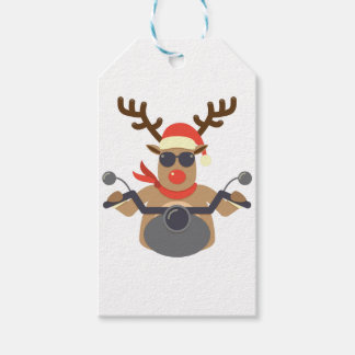 Christmas Funny Rudolf Biker Motorcycle Pack Of Gift Tags