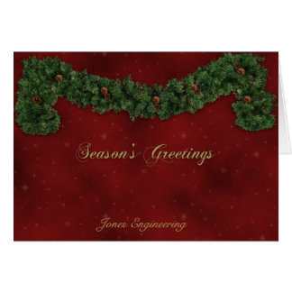 Christmas Garland on Red with Gold Glitter Card