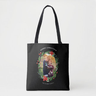 Christmas Garland Pines Berries Juniper Photo Tote Bag
