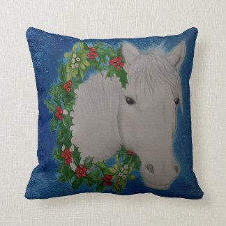 Christmas Garland Pony Throw Pillow