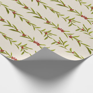 Christmas Garland with Berries Wrapping Paper