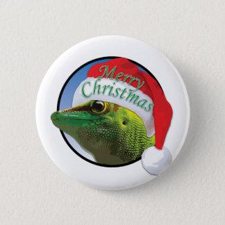 Christmas Gecko - Standard, 2¼ Inch Round Button