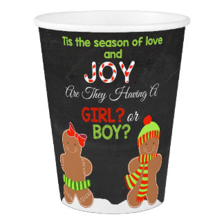 Christmas Gender Reveal Paper Cups - Gingerbread Paper Cup