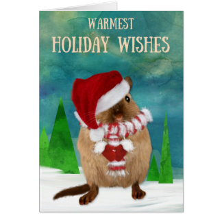 Christmas Gerbil Santa Hat in Winter Scene Card