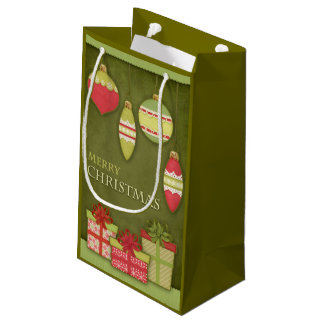 Christmas Gift Box and Ornament Illustration Small Gift Bag