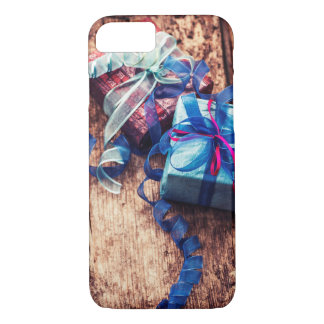 Christmas Gift Boxes Blue Ribbon Wooden Texture iPhone 8/7 Case