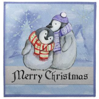 CHRISTMAS GIFT.  CUTE CHRISTMAS PENGUINS COUPLE NAPKIN