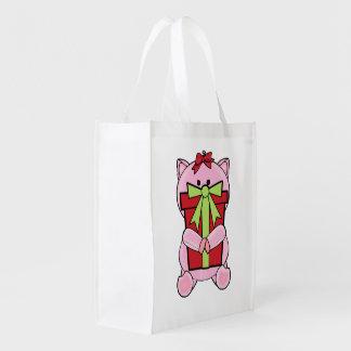 Christmas Gift Pig Reusable Grocery Bags