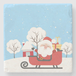 CHRISTMAS GIFT. SANTA CLAUS ON A SLED STONE COASTER
