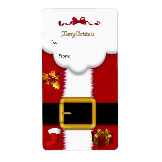 Christmas Gift Santa Suit Tag Gold Red White Xmas