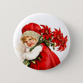 Christmas Gift Set Vintage Girl with Poinsettias 2 Inch Round Button