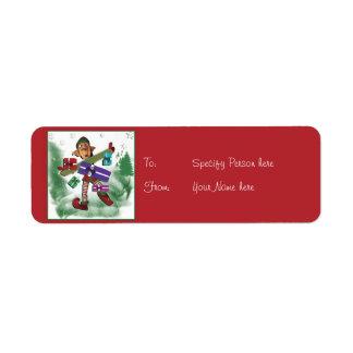 Christmas gift tag cartoon elf cute return address label