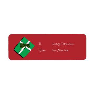 Christmas gift tag cartoon present return address label