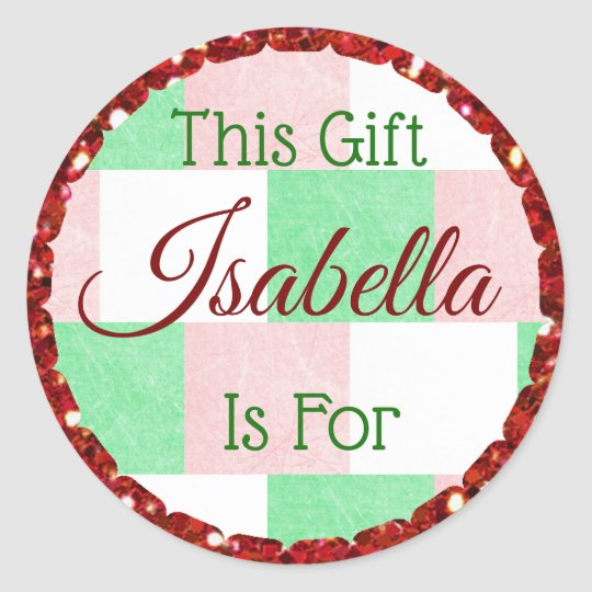 Christmas Gift Tag Red Green Personalized Name