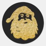 Christmas gift tag Santa Claus gold black Round Sticker