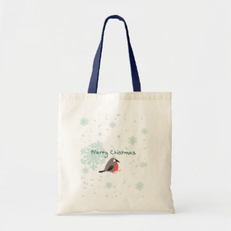 Christmas gift Tote bag  cute bird and snowflake