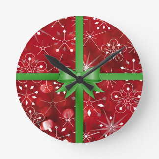 Christmas Gift Wrap Round Clock