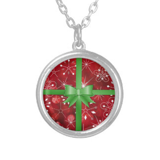 Christmas Gift Wrap Silver Plated Necklace