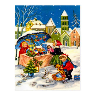 Christmas gifts in a Christmas market Postcard