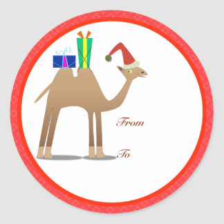 Christmas Gifts Tags: Camel Classic Round Sticker