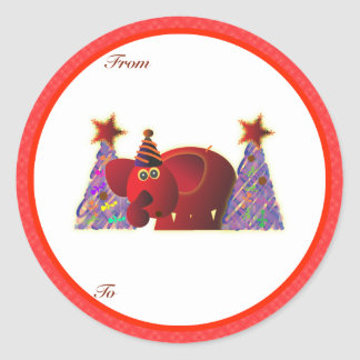 Christmas Gifts Tags: Red Elephant Classic Round Sticker