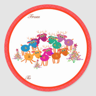 Christmas Gifts Tags: seven deers II Classic Round Sticker