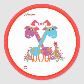Christmas Gifts Tags: Two Giraffes Classic Round Sticker