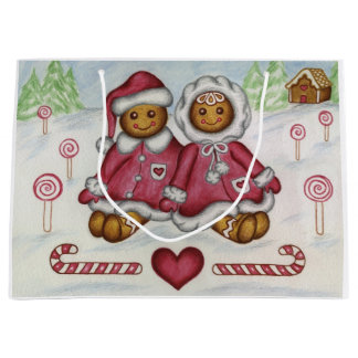 Christmas Gingerbread Boy and Girl Gift Bag