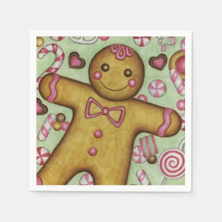 Christmas Gingerbread Boy Party Holiday Napkins