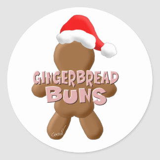 Christmas Gingerbread Buns Classic Round Sticker