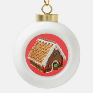 Christmas Gingerbread & Candy Cane House Ceramic Ball Ornament