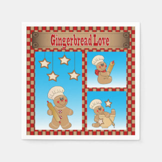 Christmas Gingerbread Cookie Love Paper Napkins